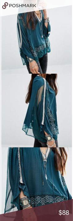 Free People green Eden blouse ⚡️NO trades  ⚡️open to ALL offers!  ⚡️ bundle for MAJOR discounts!  ⚡️feel free to ask any questions ⚡️ I will not respond to offers in the comments, please use the offer button for all offers.  ⚡️Please only ask for model photos if you are very interested!  ⚡️All sales are final and all offers are binding.  ⚡️ If I miss your comment, please comment again! Free People Tops Blouses