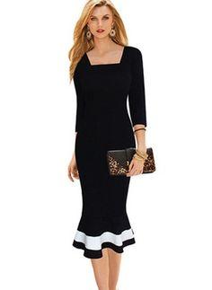 Solid Square Neckline 3/4 Sleeves Midi Sheath Dress