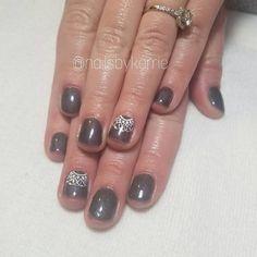 """37 Likes, 1 Comments - Kerrie Ficklin (@nailsbykerrie) on Instagram: """"#nails #gelpolish #truegel #ezflow #graynails #nailart #handpaintednailart #winternails…"""""""