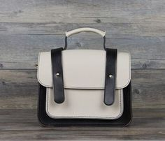 Genuine leather black white joint satchel bag • Apipi Leather   Handmade • Tictail