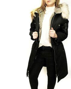 357fc83ec568 ASOS DESIGN Black Parka With Detachable Faux Fur Liner Fishtail Jacket 4 to  18  ASOS  Parka  Outdoor