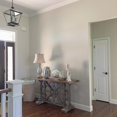 "This is Benjamin Moore ""November Rain."" It's growing on m - November Interior Paint Colors, Paint Colors For Home, Kelly Moore Paint Colors Interiors, Paint Colours, Coastal Living Rooms, Living Room Paint, November Rain Benjamin Moore, Benjamin Moore Bedroom, Apartment Decorating For Couples"