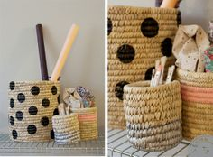 Cute DIY painted baskets by Målade korgar   Lovely Life