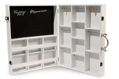 Holz Regal Koffer Setzkasten 15 Fächer weiß Aufbewahrung Pinnwand mit Tafel
