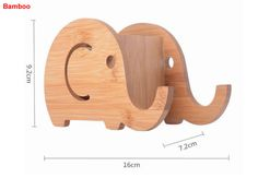 Wooden Elephant Stationery Organizer Phone Stand Holder