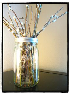 pussywillow in the now ubiquitous mason jar vase
