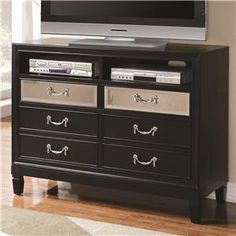 Devine Media Chest with Six Drawers and Shelving