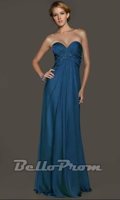 Classy Blue Strapless Sweetheart A-line Prom Dress A2896
