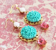 Vintage White and Pink Rose Jewels with Aqua Flower Cluster Earrings.
