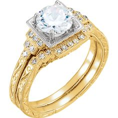 14kt Yellow & White .08 CTW Diamond Semi-mount Engagement Ring for 6.5mm Round Center