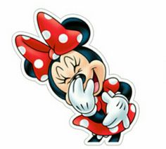 Minnie must be having a good laugh.  That's a fun sticker of Minnie Mouse