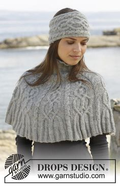 "Knitted DROPS poncho and head band with cables and rib in ""Karisma"". Free pattern by DROPS Design. Débardeurs Au Crochet, Bonnet Crochet, Crochet Hats, Knitting Patterns Free, Free Knitting, Free Pattern, Drops Design, Knitted Cape, Knitted Shawls"