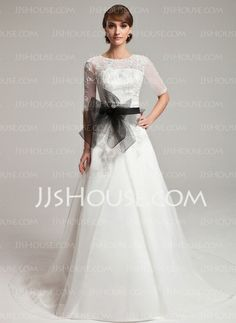 A-Line/Princess Off-the-Shoulder Chapel Train Organza  Satin Wedding Dresses With Lace  Sashes (002004752)