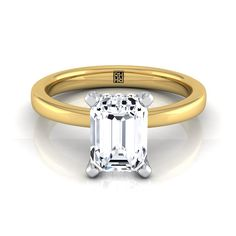 Emerald Cut Diamond Ring With Pave Basket Setting In 14k Yellow Gold