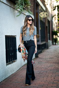 Chicory Silk Scarf - 7 For All Mankind Braided BRAIDED HIGH WAIST FLARE IN TRUE BLACK - Schutz Amatista - Forever 21 Grey Tee - Pam Hetlinger - The Girl From Panama