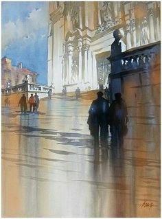 Watercolor painting building cathedral Europe by Thomas Schaller