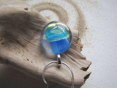 Serenity & Aqua Blue - Sea Blue Glass Pendant Hippie Jewelry by LupinePrairieGlass