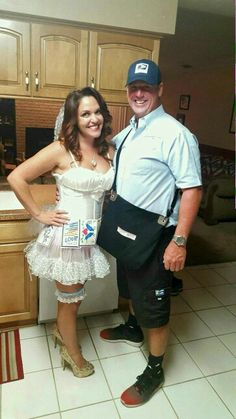 Mail order bride costume couples  sc 1 st  Pinterest & Mail Order Bride and Postal Worker - Halloween Costume Contest at ...