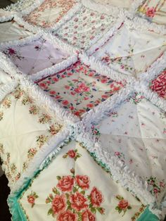 Rag quilt made from vintage hankies