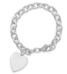 "7.5"" Cable Bracelet with 21mm Heart"