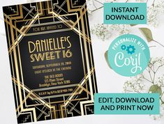 Art Deco Great Gatsby Sweet 16 Invitation #92 | Digital INSTANT DOWNLOAD Editable Invite | Custom Personalized | Sweet Sixteen Birthday by PurplePaperGraphics on Etsy Sweet 16 Invitations, Party Invitations, Invite, Holy Communion Invitations, Printable Birthday Invitations, Sweet 16 Parties, First Holy Communion, Wedding Invitation Design, Sweet Sixteen
