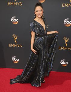 Constance Wu in J. Mendel at the 2016 Emmys.