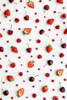 Red fruit background by Ruth Black - Strawberry, Fruit - Stocksy United Summer Wallpaper, Pastel Wallpaper, Cute Wallpaper Backgrounds, Wallpaper Iphone Cute, Flower Backgrounds, Flower Wallpaper, Photo Backgrounds, Cute Wallpapers, Black Backgrounds