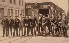 Some surviving Titanic crew members In Plymouth after travelling back from New York.