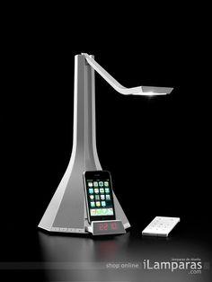 la diva flexo led multifuncion audio iphone blanco aluminio blanco (1DIV000002WL0) - Rotaliana / iLamparas.com