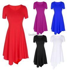 Women lady casual fashion short sleeve mini T-Shirt Dress T-shirt tops Dress | eBay