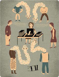 patryk mogilnicki | illustration. mobbing at work (zwierciadło).