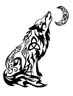 interesting symbols worked into the wolf.  tribal wolf tattoo design - Google Search