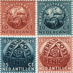 M. C. Escher was is one of the best-known Dutch artists, famous for his mind-bending pictures of different realities. He also designed a few stamps for Holland, and these two designs show interlocking postal horns covering a globe. As a stamp designer, however, he had more of his designs rejected than were ever accepted!  #stamps #postagestamp #dutchstamps #mcescher #designer