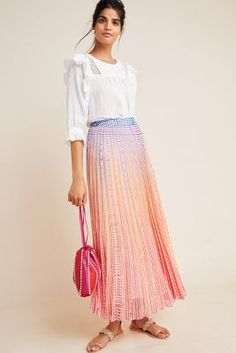 Petite Geisha Designs Dawn Maxi Skirt in Assorted Size: 00 P, Women's Skirts at Anthropologie Pleated Midi Skirt, High Waisted Skirt, Printed Maxi Skirts, Lace Skirt Outfits, Lace Dresses, Summer Outfits, Summer Dresses, Fall Outfits, Dress Brands