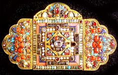 Buckle, gold , coral, tuquoise , gem stones Nepal 19th c