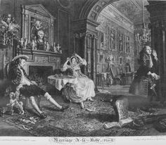 Marriage à la Mode Plate 2 (Early in the Morning) - William Hogarth    Marriage à la Mode, a series of six etchings by English engraver and painter William Hogarth, was printed as social commentary for the 18th-century audience comparable to our modern dramas. In this series Hogarth focuses on the misery of an arranged marriage between the daughter of an upper-class merchant family and the son of a destitute noble family attempting to maintain their wealthy status. At a time when arranged…