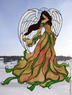The incredible small, well fitted pieces come together to make a great sun catcher. Stained Glass Quilt, Stained Glass Angel, Stained Glass Crafts, Faux Stained Glass, Stained Glass Designs, Stained Glass Patterns, Stained Glass Windows, Mosaic Art, Mosaic Glass