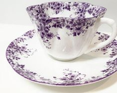Shelley Tea Cup and Saucer, Shelley Dainty Mauve Pattern Shelley China, Antique Tea Cups Vintage, English Bone China Cups, Wedding Gift Tea Cup Set, My Cup Of Tea, Tea Cup Saucer, Tea Sets, Teapots And Cups, Teacups, Antique Tea Cups, China Tea Cups, Tea Service
