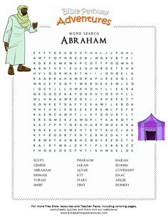 Enjoy our free Bible Word Search: Abraham. Fun for kids to print and learn more about the Bible. Feel free to share with others, too!