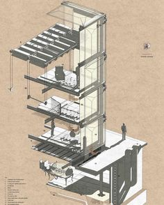 cutaway section isometric drawing http://ift.tt/2hNmum8 #drawing #architecture #design #illustration architecture drawing illustration art sketch