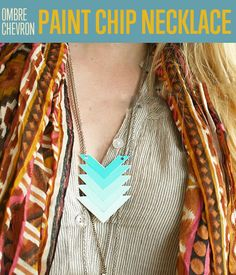 DIY Ombre Chevron Paint Chip Necklace | www.diyready.com/diy-ombre-paint-chip-chevron-necklace/