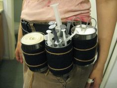 Reuse empty can for Halloween costume