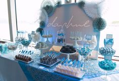 blue and gold dessert table - Google Search More