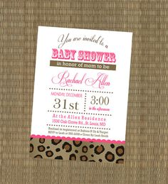 Printable Cheetah Baby Shower Invitation  by EThreeDesignStudio, $15.00.. when i have a little girl i hope someone makes the baby shower invites JUST LIKE THIS!!! <3