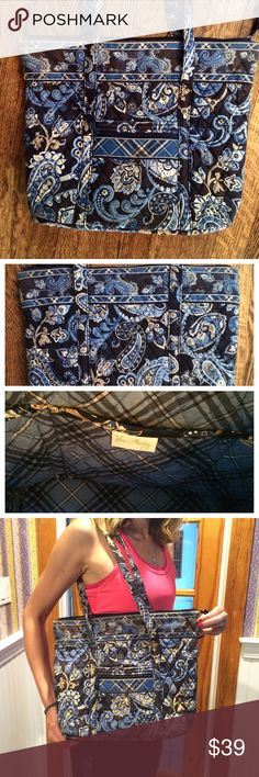 "Vintage Vera Tote! Gorgeous blue paisley pattern Vera Bradley bag!   Zipper top, front pocket and zippered front pocket (perfect for keys/phone), six pockets inside.  Pre-loved some signs of wear around bottom and straps, shown in last picture.  15"" (L) x 3.5"" (W) x 12"" (H) Vera Bradley Bags Totes"