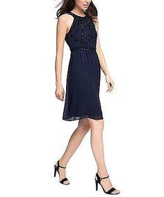 10, Blue - Blau (NAVY 400), ESPRIT Women's 036eo1e014 - Floating Chiffon Quality