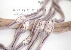 Haarbänder - Fotoaccessoire Haarband newborn taupe rosa - ein Designerstück von WesenzArt bei DaWanda