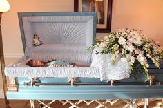 Haley Stonehocker in her open casket during her funeral.