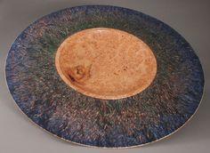 "Maple burl platter dyed blue-green-purple 25-3/8""D x 2-5/8""H"