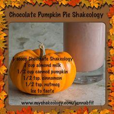 Chocolate Pumpkin Pie Shakeology...a healthy holiday treat! www.beachbodycoach.com/jodyjensen
